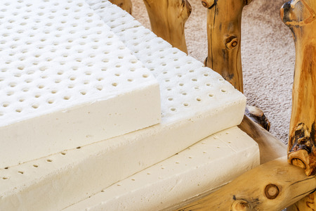 mattress: exposed layers of natural latex from an organic mattress