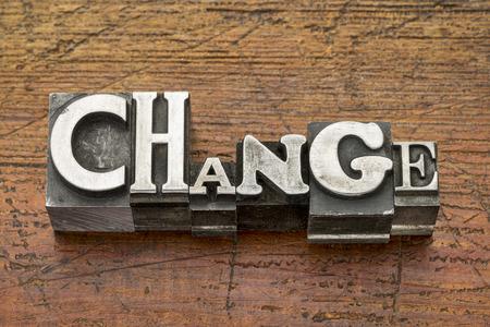 by change: change word in mixed vintage metal type printing blocks over grunge wood