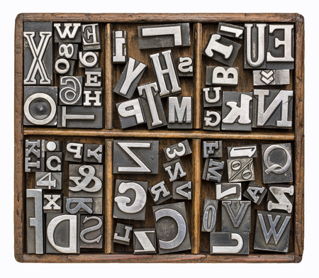 block letters: alphabet and other symbols in old metal type printing blocks in a rustic wooden typesetter box
