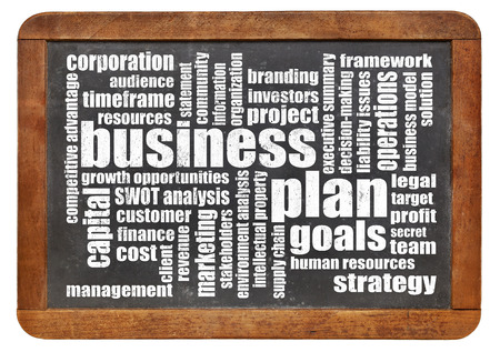 business plan word cloud on a vintage slate blackboard isolated on white Stock Photo