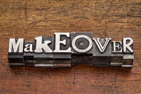 グランジ木材経由で印刷してブロック混合ビンテージ金属型に変身単語