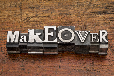 makeover: makeover word in mixed vintage metal type printing blocks over grunge wood Stock Photo