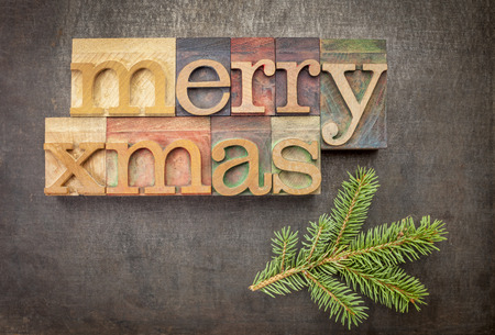 Merry Xmas (Christmas) greetings or wishes  in vintage letterpress wood type over grunge metal background with spruce photo