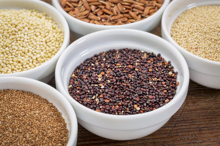 black quinoa and other gluten free grains (amaranth, millet, teff brown rice)  in small ceramic bowls Stockfoto