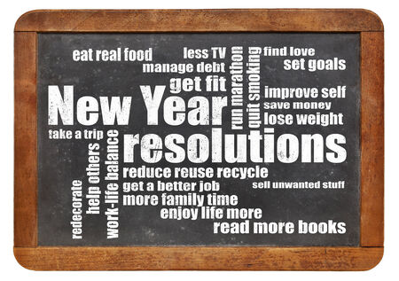 New Year goals or resolutions - a word cloud on a vintage slated blackboard photo
