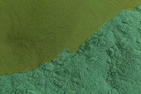 chlorophyll: background of chlorella and spirulina  (bottom) sea algae supplement powder