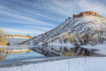 horsetooth reservoir: Horsetooth Reservoir near Fort Collins in northern Colorado in early winter scenery Stock Photo