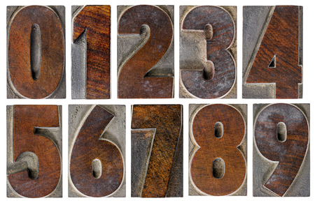 number seven: a set of isolated 10 numbers from zero to nine in vintage letterpress wood type with ink patina