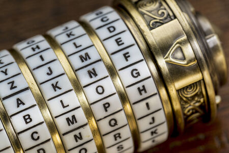 blog word as a password to combination puzzle box with rings of letters