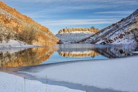 horsetooth reservoir: Horsetooth Reservoir in winter scenery, Fort Collins in northern Colorado