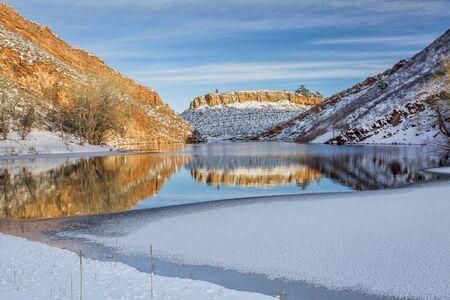 horsetooth rock: Horsetooth Reservoir in winter scenery, Fort Collins in northern Colorado