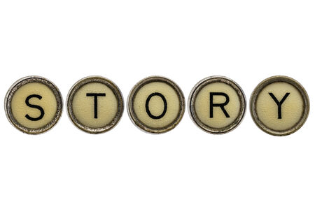 narration: story word in old round typewriter keys isolated on white