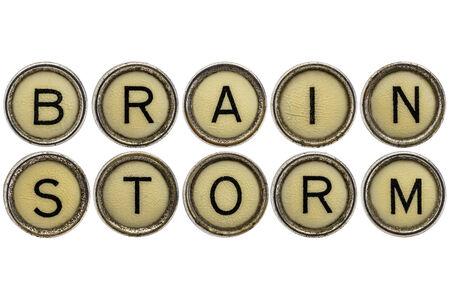 brainstorm woord in oude ronde schrijfmachine sleutels geïsoleerd op wit Stockfoto