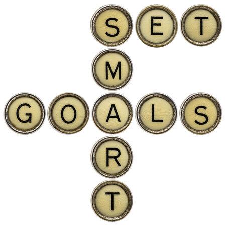 set smart goals  - motivational text in old round typewriter keys isolated on white photo