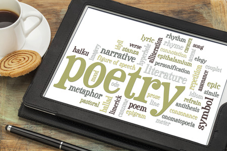 stanza: poetry word cloud on a digital tablet with cup of coffee