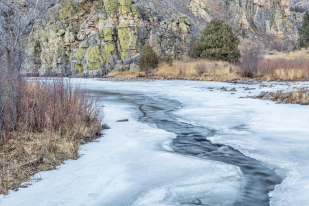 Cache la Poudre River in winter scenery, Gateway Natural Area near Fort Collins, Colorado Stock Photo