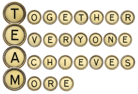 everyone: team acronym (together everyone achieves more)  in old round typewriter keys isolated on white