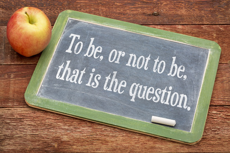 To be, or not be, that is the question - text on a slate blackboard against red barn wood Stock Photo
