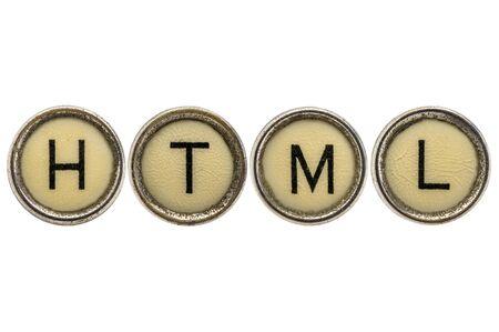 html: HTML  -  acronym in old round typewriter keys isolated on white Stock Photo