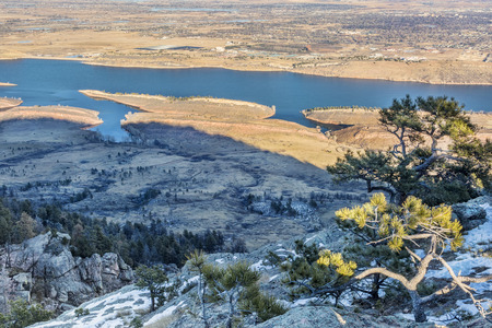 horsetooth reservoir: Lory State Park and Horsetooth Reservoir view from Arthurs Rock, a popular hiking trail in Fort Collins, Colorado