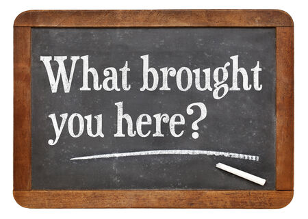 spiritual journey: What brought you here? A question on a vintage slate blackboard Stock Photo