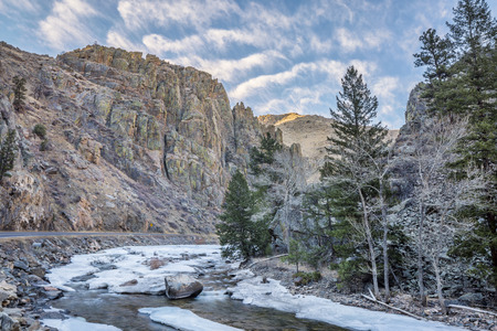 fort collins: Cache la Poudre River at Little Narrows west of  Fort Collins, Colorado - winter scenery