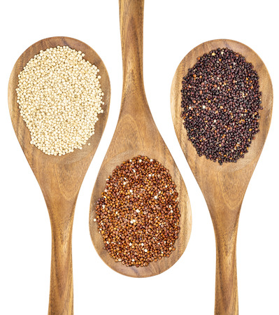 white, red and black quinoa grains on wooden spoons Stock Photo