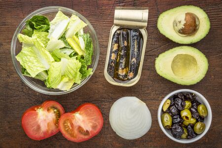 romaine: top view of sardine salad ingredients - romaine lettuce, tomato, onion, olives, avocado and canned sardines Stock Photo