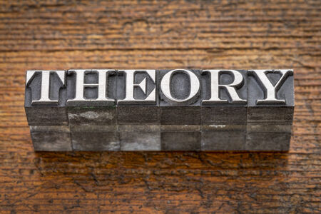 theory  word in mixed vintage metal type printing blocks over grunge wood Banco de Imagens