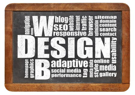 website words: web design concept - a word cloud on a vintage slate blackboard