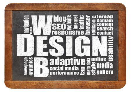 web: web design concept - a word cloud on a vintage slate blackboard