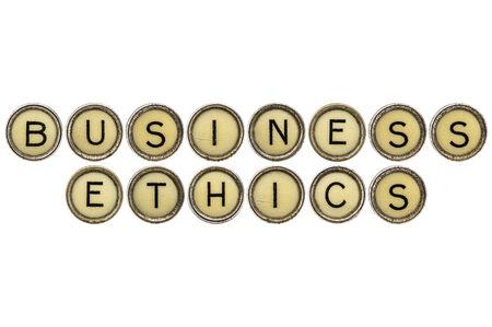 etica empresarial: texto �ticas de negocio en llaves antiguas m�quinas de escribir redondos aislados en blanco