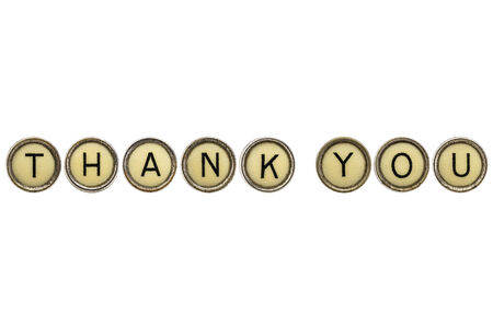 thank you text  in old round typewriter keys isolated on white