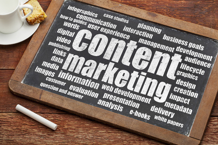 web content: content marketing word cloud on a digital tablet with a cup of coffee
