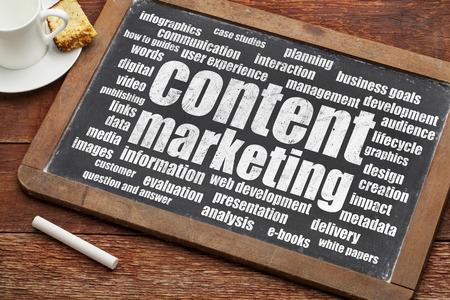 Content-Marketing-Wortwolke auf einer digitalen Tablette mit einer Tasse Kaffee