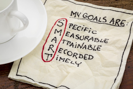 metas: mis metas son inteligentes - meta concepto configuraci�n - texto escrito a mano en una servilleta con caf�