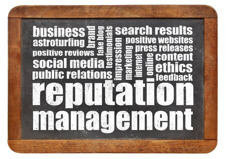 reputation management word cloud on a vintage blackboard