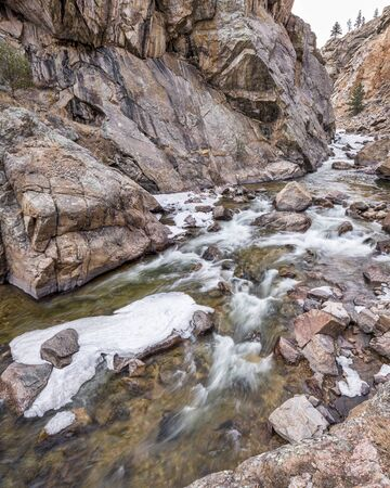Cache la Poudre River at Big Narrows west of  Fort Collins in northern Colorado - winter scenery with some ice. 4x5 format stitched from 3 pictures, Stock Photo