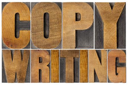 copywriting: copywriting - isolated word in letterpress wood type printing blocks Stock Photo