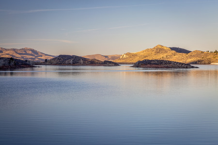 horsetooth reservoir: calm winter sunset over Horsetooth Reservoir near Fort Collins, Colorado