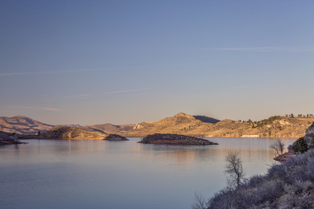 horsetooth reservoir: calm winter sunset over Horsetooth Reservoir near Fort Collins in northern Colorado