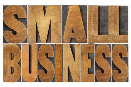 printing business: small business - isolated text in letterpress wood type printing blocks