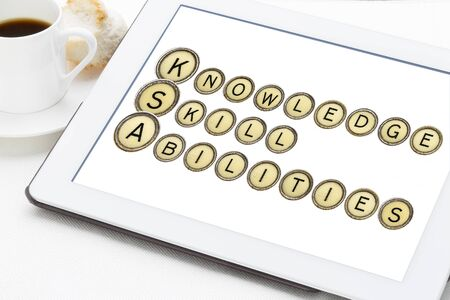 ksa: Knowledge, skills, and abilities (KSA) is a concise essay about ones talent and expertise and related experiences. A word abstract in old typewriter keys on digital tablet.