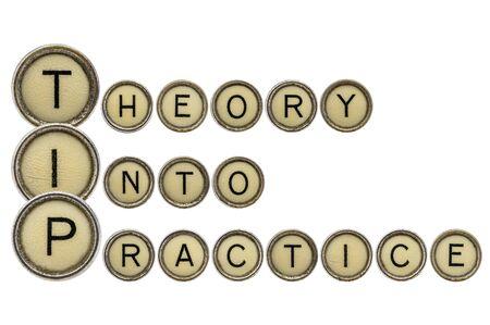 TIP (theory into practice) acronym explained with isolated, old,  typewriter keys photo