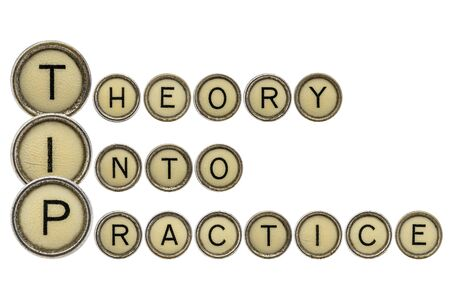 TIP (theory into practice) acronym explained with isolated, old,  typewriter keys Stock fotó