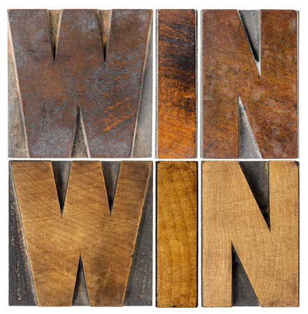 win: win-win - negotiation or conflict resolution strategy  -  isolated word abstract in vintage letterpress wood type
