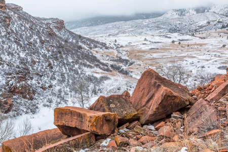 fort collins: snowstorm over Rocky Mountains foothills, Lory State Park near Fort Collins, Colorado Stock Photo
