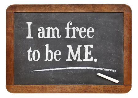 I am free to be ME - positive words on a vintage slate blackboard