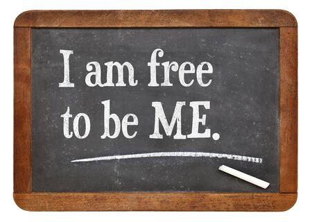 I am free to be ME - positive words on a vintage slate blackboard