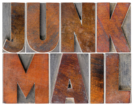 wood type: junk mail - isolated text in letterpress wood type blocks